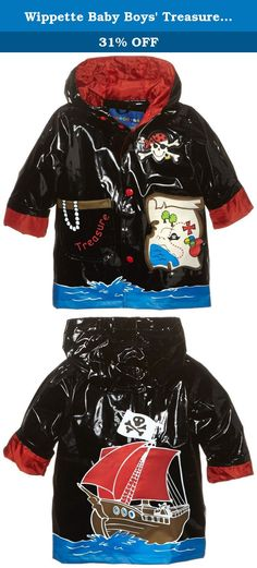 Wippette Baby Boys Treasure Hunt Shiny Rainwear, Black, 12 Months. Hooded pirate ship rain jacket.