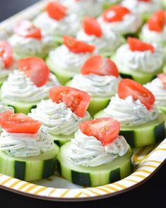 fresh Dilly Cucumber Bites make a great healthy appetizer. Cucumber slices are topped with a fresh dill cream cheese and yogurt mixture, and finished with a juicy cherry tomato. Bite Size Appetizers, Light Appetizers, Healthy Appetizers, Appetizers For Party, Appetizer Recipes, Healthy Snacks, Healthy Recipes, Tomato Appetizers, Appetizer Ideas