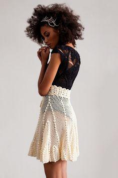 Fabulous Crochet a Little Black Crochet Dress Ideas. Georgeous Crochet a Little Black Crochet Dress Ideas. Crochet Bodycon Dresses, Crochet Skirts, Crochet Blouse, Knit Skirt, Crochet Clothes, Knitwear Fashion, Knit Fashion, Freeform Crochet, Knit Crochet