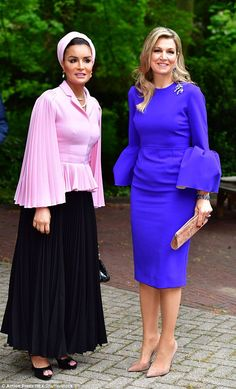 Sheikha Mozah Bint Nasser joined the Dutch Queen Maxima in The Hague today...