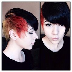Short Black, Blonde and Red Hair