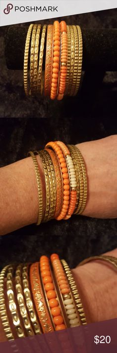 Set of 11 bangles Brushed gold, orange and cream accents Premier Designs Jewelry Bracelets