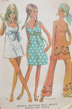 Vintage 1960s McCalls 9676 Bathing Suit Beach Dress and Pants Pattern.