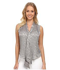 Calvin Klein Calvin Klein  Tie Neck Foil Blouse Moonlight Womens Blouse for 44.99 at Im in! #sale #fashion #I'mIn
