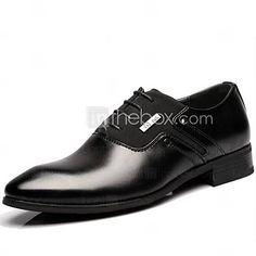 Shenn Hombre Británico Diseño Ponerse Bajo Top Vestir Cuero Zapatos (Negro,EU39)