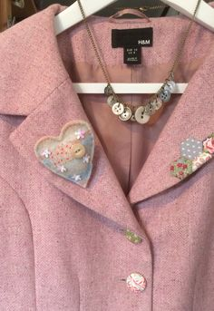 Upcycled jacket and  buttons and felt