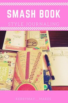 Smashbook Creative Journaling: How to make a smash book and 20 ways to use it (the 'stick anything' style of journaling and scrapbooking) - Kerrymay. Best Travel Journals, Travel Journal Pages, Book Journal, Music Journal, Art Journal Prompts, Art Journal Techniques, Journal Cards, Art Journaling, Journal Ideas