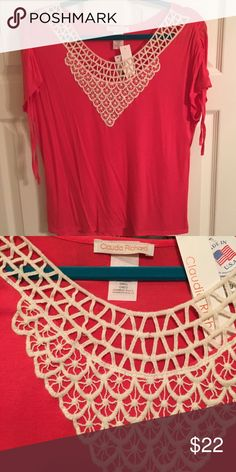NWT Coral with Lace Top Size Small Sleeves have cute drawstrings that tie. Claudia Richard Tops Blouses