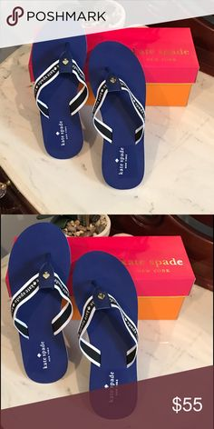 Flash sale ♠️ Kate Spade Logo Flip Flop♠️ New in box!!!♠️ Kate Spade Blue and White Logo Flip Flops ♠️  Great royal blue color with signature Spade detail! No offers on flash sale items please! Kate Spade Shoes Flats & Loafers