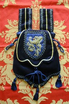 Blue Velvet Pouch with Goldwork Lion, Hand Embroidered on Dark Blue Silk