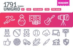Unigrid contains 1791 outline #vector #icons divided into following categories:  Baby, Basic, Biology, Buildings, Clothing & Accessories, Design, Devices, Finance, Food, Fruits & vegetables, Holidays, Human, Maps & Travel, Layout, Military, Multimedia, Nature, Security, Science, Sport, Symbols & Arrows, Tools, Vehicles.