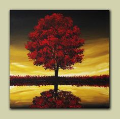 Buy Wind Blown Skies, 24 x 24 x 1.5 Ready to Hang Free Shipping, Every Room Needs A Little Red on Shoply.