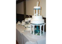 Wedding Cake White, Teal and Pearl accents