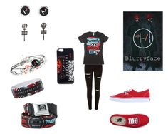 """Blurryface- Twenty One Pilots"" by nanibel18 ❤ liked on Polyvore featuring River Island and Vans"