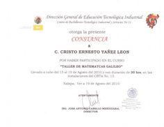 Constancia por haber participado en el Taller de Matemáticas Galileo a Cristo Leon