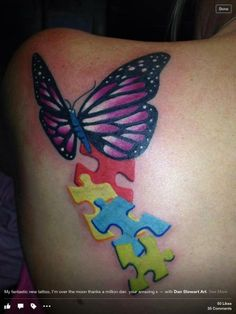 """Via Ink4Autism on November 20, 2013 - Sent in by Michelle Bryant """"I had this beautiful tat designed , repressing both my children. — with Dan Stewart Art."""" Click here to visit Ink4Autism https://www.facebook.com/Ink4Autism"""