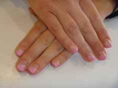 French tips with pink Gelish gel polish & konad