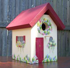 Autumn Cottage Burgundy Birdhouse by TheSparrowInn on Etsy, $35.00