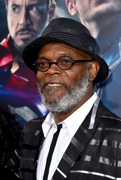 Samuel L. Jackson, a.k.a. Nick Fury, wearing stripes at the 'Avengers: Age of Ultron' premiere.