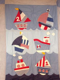 Anna likes this one if it's a boy Nautical Baby Quilt, Baby Applique, Cot Quilt, Red And White Quilts, Fabric Postcards, Patch Aplique, Cross Stitch Baby, Small Quilts, Quilting