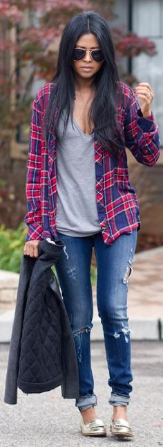 Women's plaid flannel shirt outfit