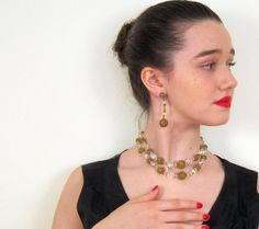 Vintage 1950s Crystal and Gold Filigree Necklace by BasyaBerkman, $56.00