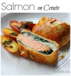 Steves Cooking: Salmon en croute by Steven Dolby Salmon Recipes, Fish Recipes, Seafood Recipes, Cooking Recipes, Healthy Recipes, Pastry Recipes, Top Recipes, Cheese Recipes, Cooking Ideas