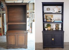 How to use chalk style FAT paint to transform an old bookcase Refurbished Bookcase, Old Bookcase, Bookcase Upcycle, Painted Bookcases, Bookshelf Ideas, Bookshelves, Bookcase Makeover, Furniture Makeover, Hutch Makeover
