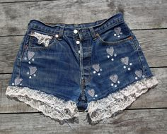 Vintage Levis reworked crop denim lace high by PauzitiveCreations, £29.00