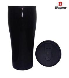 VASO TURUM METALICO  Práctico vaso, ligero, compacto y portátil confeccionado en aluminio cubierto con pintura epoxi negra y en su interior de pared plástica.   Posee tapa a rosca.   De boca ancha, lo que hace que sea fácil de llenar, beber y limpiar.   Incluye delicada caja contenedora color negro.   Capacidad 450 ml.  Tamaño de la caja 22 x 9 x 9 cms