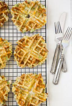 Chicken, broccoli and cheddar potato waffles