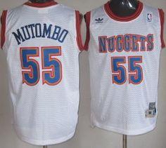 Denver Nuggets 55 Dikembe Mutombo White Soul Swingman NBA Jersey