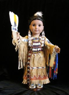 "Lovely. 18"" Doll in Full Traditional Women's Dance Regalia. $1,200.00, WhiteArrowClothing, via Etsy."