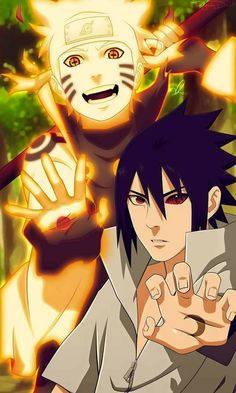 Sasuke Uchiha and Naruto Uzumaki Wallpaper ♥♥♥ The Sun and The Moon ♥ #war #Kyuubi #sharingan #rinnegan