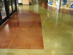 Concrete Acid Stain - LITHOCHROME® Chemstain® Classic from L. Weathered bronze is the green color. Concrete Countertops, Concrete Floors, Hardwood Floors, Flooring, Acid Stained Concrete, Entry Doors, Green Colors, Design, Bronze