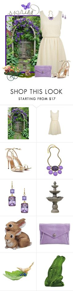 """In the Garden"" by stephiebees ❤ liked on Polyvore featuring dELiA*s, Aquazzura, David Aubrey, A.V. Max, John Timberland, Herend and Lalique"
