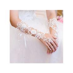 wedding gloves fingerless gloves lace flower gloves white bridal... (60 BRL) ❤ liked on Polyvore featuring accessories, gloves, bride gloves, fingerless gloves, white bridal gloves, bridal gloves and white lace gloves