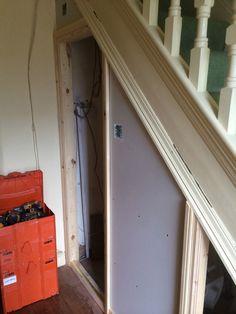downstairs loo Adding A Doorframe With Bathroom Installation In Leeds Downstairs Cloakroom, Downstairs Toilet, Small Vanity Unit, Understairs Toilet, 1930s House Renovation, Bathroom Under Stairs, Small Toilet Room, Back To Wall Toilets, Veneer Door