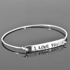 personalized bangle, best friend, sister, ID bangle, initial, love, friendship, bracelet, cuff, sterling silver by JubileJewel on Etsy