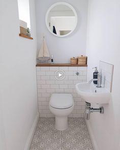 Ideas for the toilet. Ideas for the toilet on the ground floor. Ideas for the small bathroom. Small Downstairs Toilet, Small Toilet Room, Downstairs Cloakroom, Small Bathroom Tiles, Simple Bathroom, Bathroom Ideas, Small Tiles, Bathroom Makeovers, Bathroom Designs