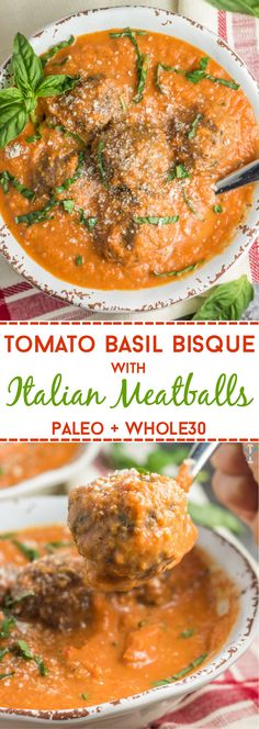 This dairy free and Whole30 compliant tomato basil bisque with Italian meatballs is an easy winter soup with simple ingredients! The perfect paleo dinner the whole family will love. via @physicalkitch (baked pasta recipes with meatballs)