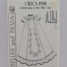 Vintage pattern for infant Christening Gown by FineLineTreasures