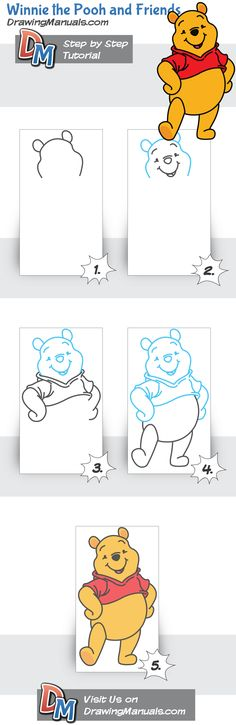 Winnie the Pooh and Friends drawing guidelines to print…