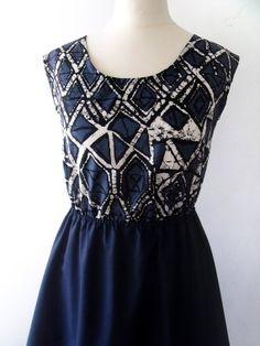 Grunge batik dress navy blue and white batik print by luminia, £29.00
