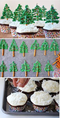 Christmas tree cupcakes. Decorate your simple chocolate cupcakes into cute little Christmas trees with help from pretzels, icing and colorful sprinkles.: