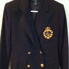 Ralph Lauren navy blazer 100% wool four gold buttons on sleeves, two buttons, two flap pockets, hankerchief pocket Ralph Lauren Jackets & Coats Blazers