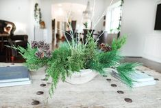 Living Room - Christmas Home Tour 2020 - Farmhouse Living - Christmas Decor - Modern Farmhouse - Evergreen Table Arrangement