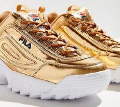 size 40 2e013 1cfe7 Fila Disruptor 2 Gold Fila Disruptors, Gold Shoes, Thigh Highs, Thighs,  Running