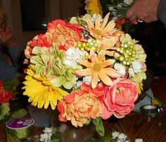 My Bridesmaids Flowers!! Made them with my family!! Beautiful!!!