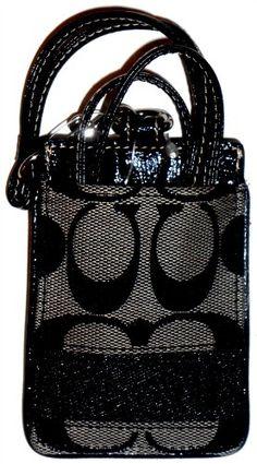 Coach 61766 Black Signature Lanyard ID Badge Case Holder Nwt